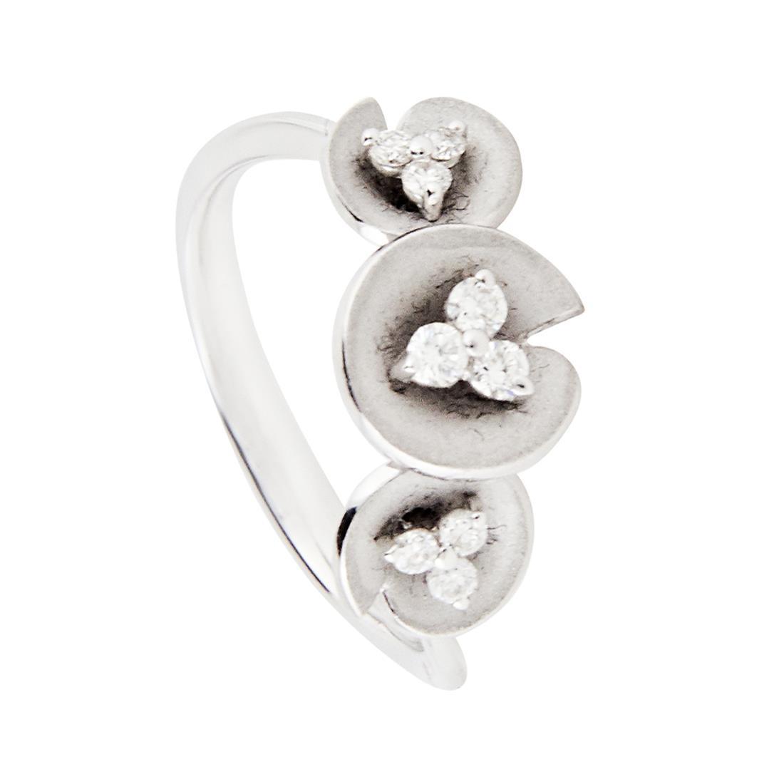 Anello ORO&CO in oro bianco con diamanti ct 0,19 Mis 14 - ORO&CO