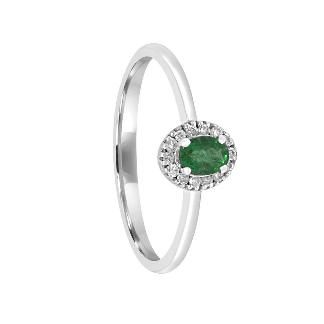 Anello in oro bianco con diamanti e smeraldo mis 13 - ORO&CO