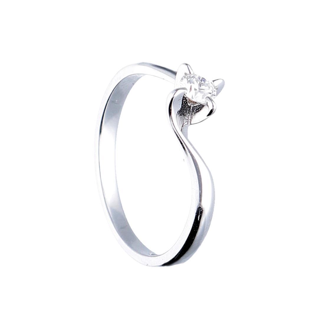 Anello solitario in oro bianco con diamante mis 15 - ORO&CO