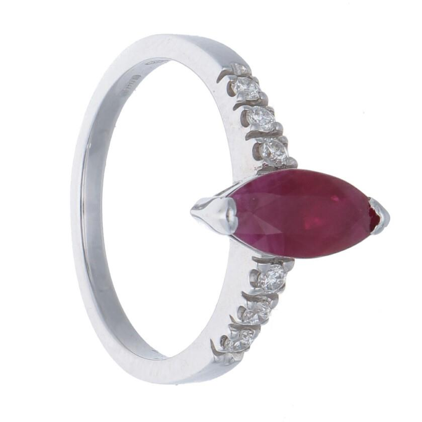 White gold ring with diamonds ct 0.18 and ruby, size L - ORO&CO