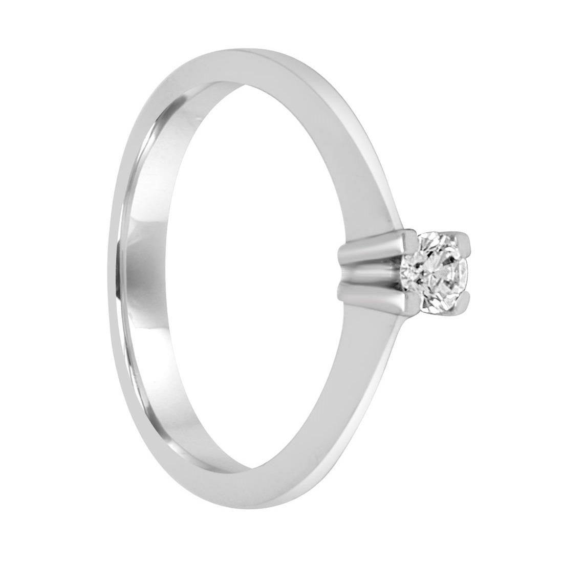 Anello solitario in oro bianco con diamante ct 0.15, misura 10,5 - ORO&CO