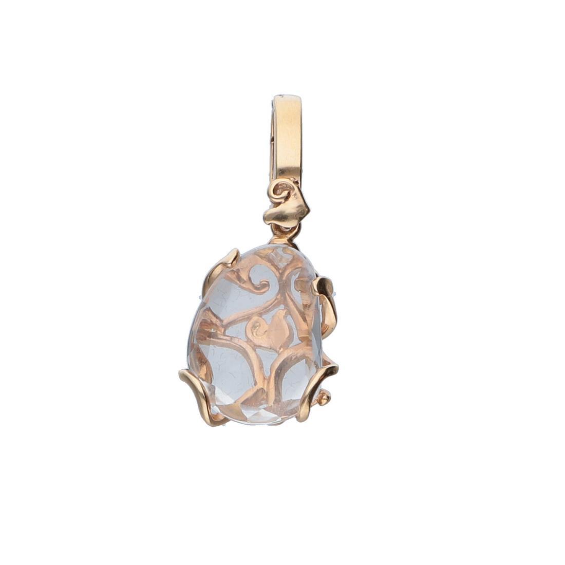 Ciondolo in oro rosa e cristallo di rocca - CHANTECLER