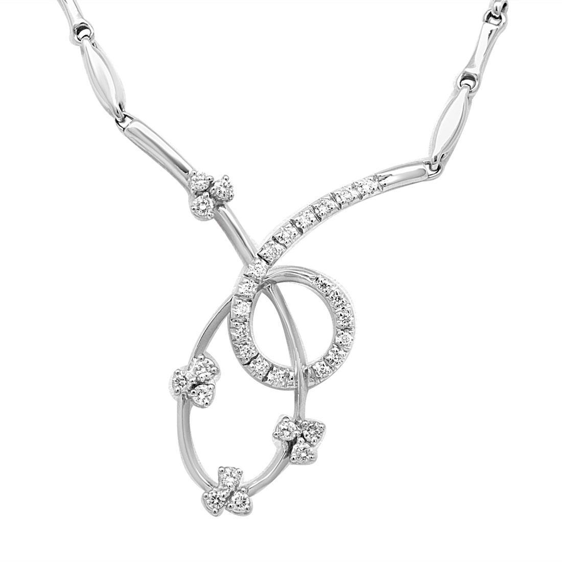 Collana design in oro bianco con diamanti - ORO&CO