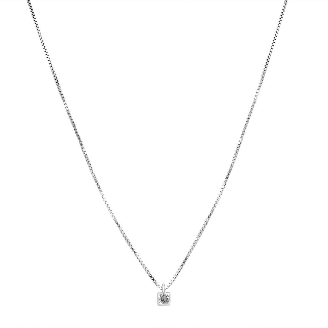 White gold necklace with diamond - ORO&CO