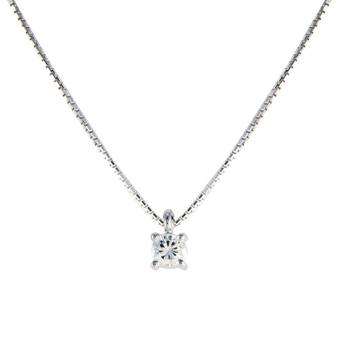 Collier Oro&Co in oro bianco punto luce con diamante CT 0,50 colore G purezza VVS2, lunghezza 42 cm - ORO&CO