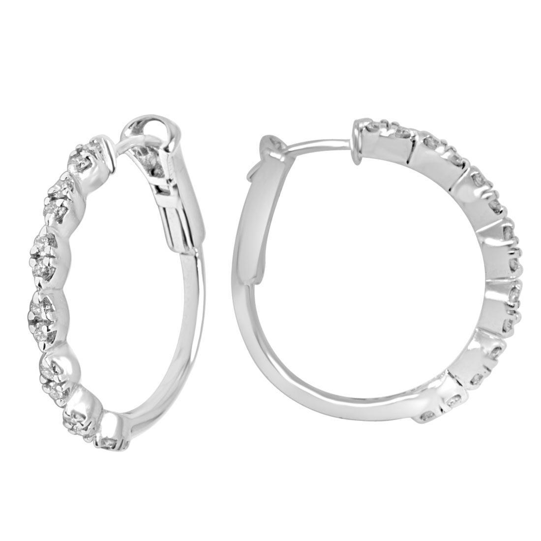 Orecchini in oro bianco con diamanti ct 0.58 - ALFIERI ST JOHN