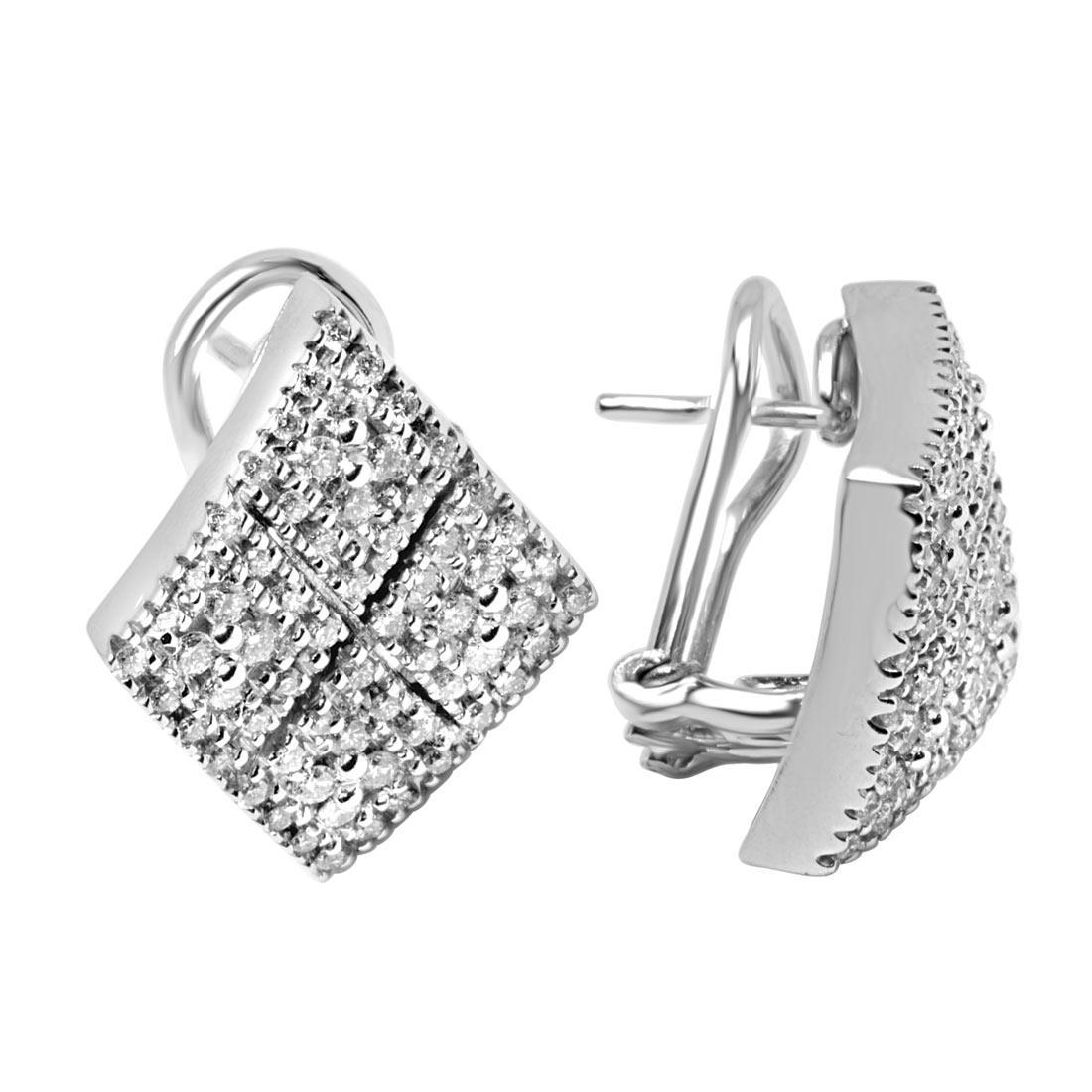 Orecchini in oro bianco con diamanti ct 1.01 - ALFIERI & ST. JOHN