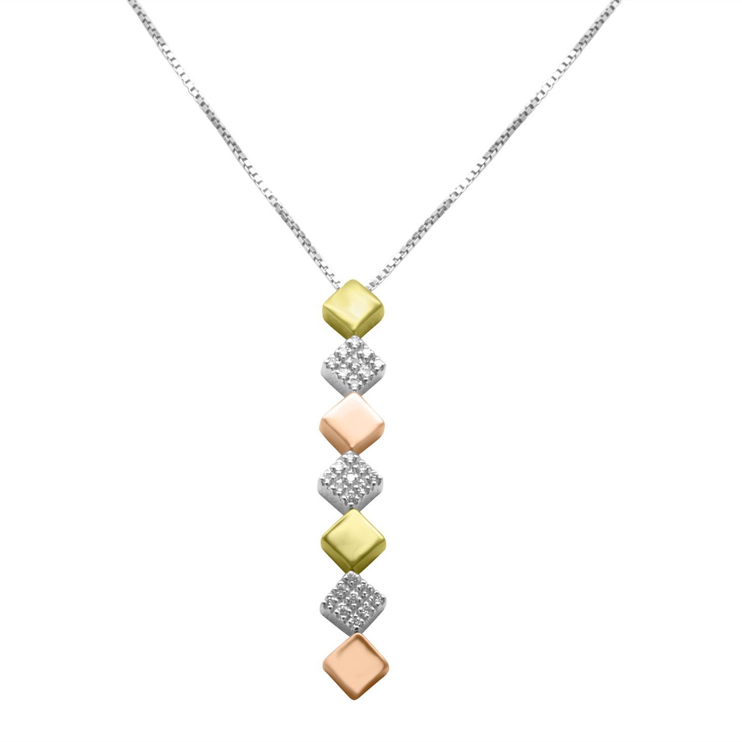 Collana in oro bianco con ciondolo a quadretti con diamanti - ALFIERI & ST. JOHN