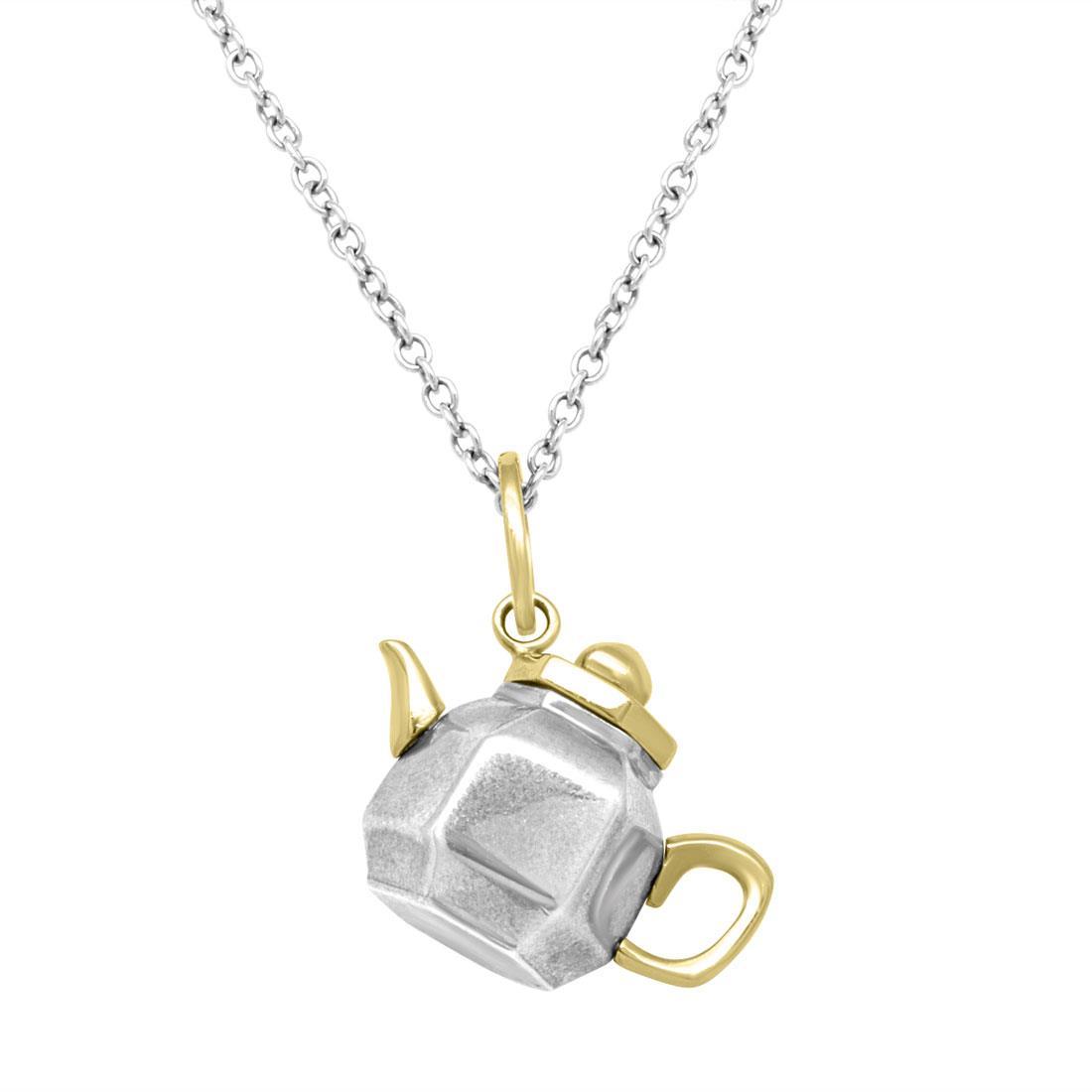 Ciondolo teiera in argento e oro giallo - POMELLATO
