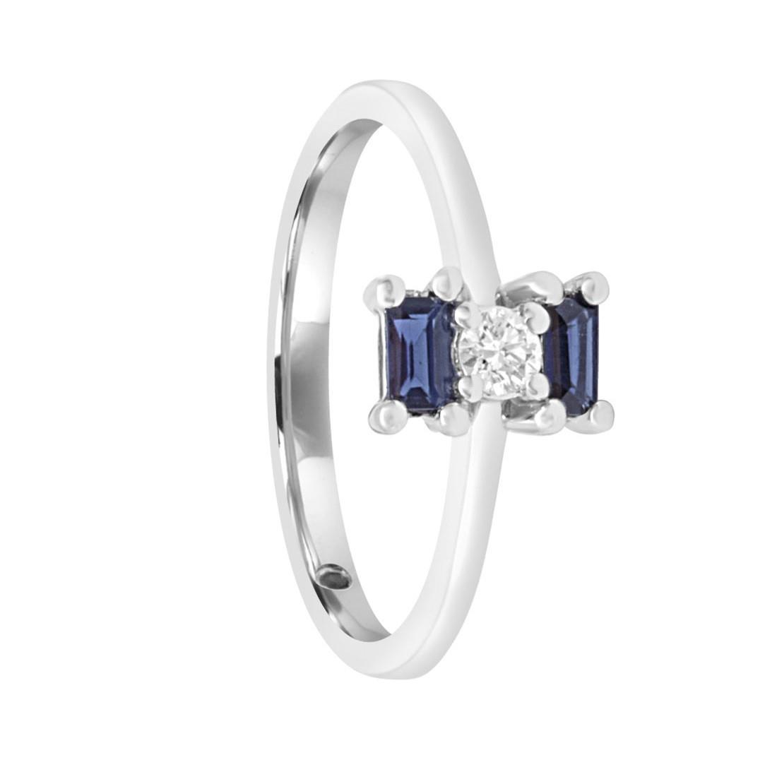 Anello in oro bianco con diamanti e zaffiri mis 13 - ORO&CO