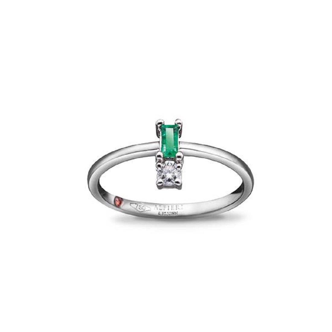 Anello con smeraldo e diamante - ALFIERI & ST. JOHN