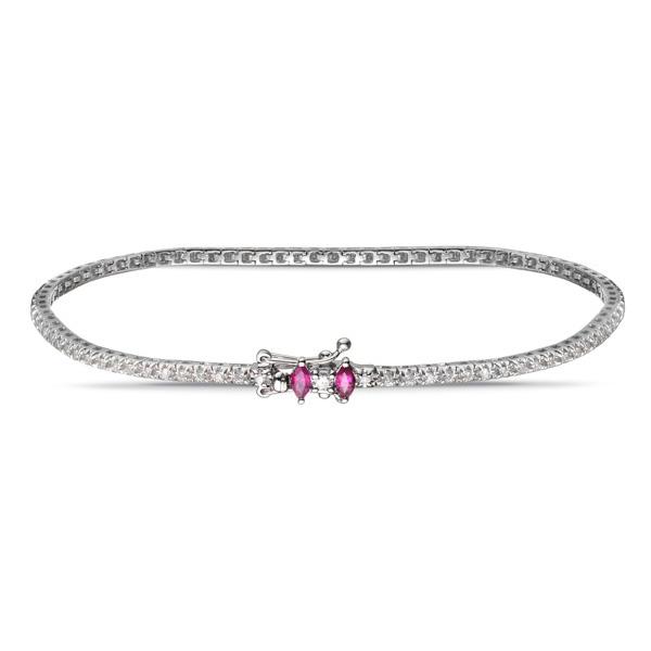 Bracciale tennis con diamanti e rubini - ALFIERI & ST. JOHN