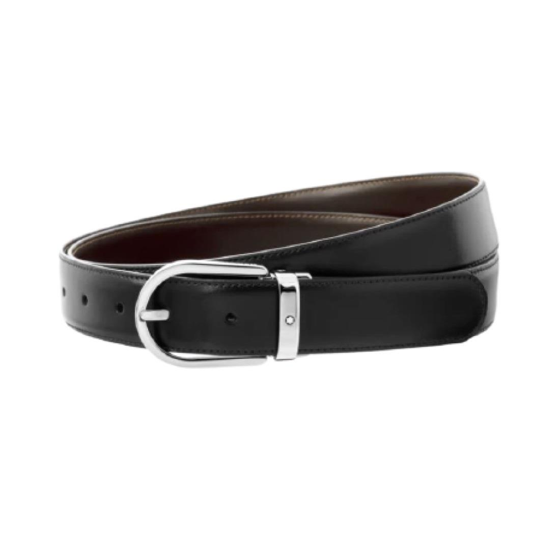 Cintura reversibile in pelle nera/marrone - MONTBLANC