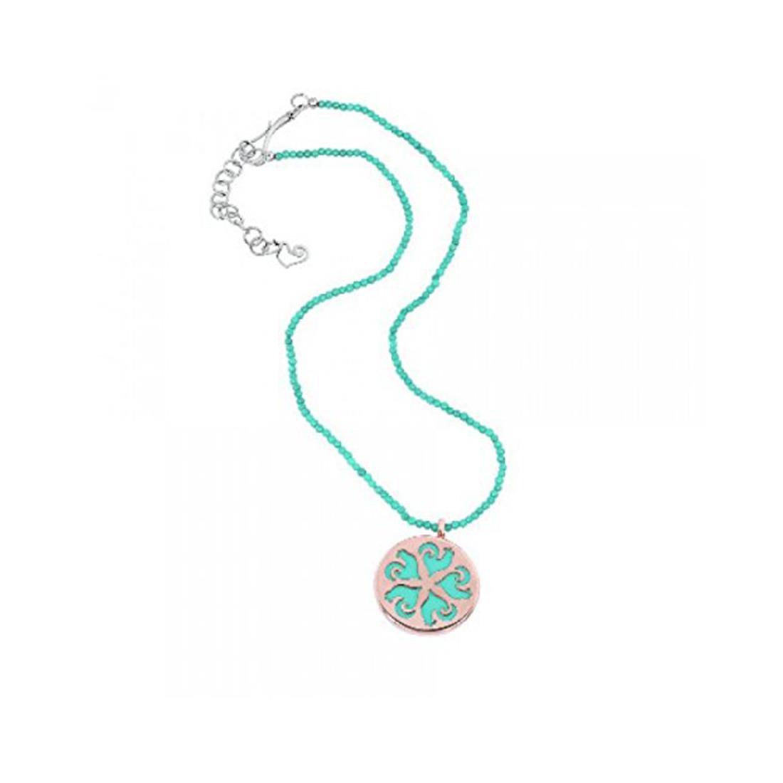 Collana Chantecler con collierino in turchese e chiusura in argento, pendente in oro rosa e resina turchese - CHANTECLER