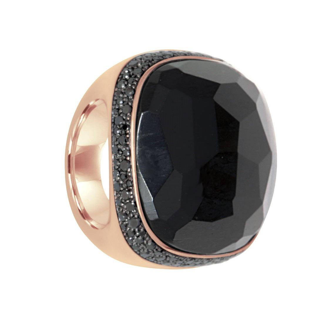 Anello con jet nero e pavè di diamanti neri  - POMELLATO