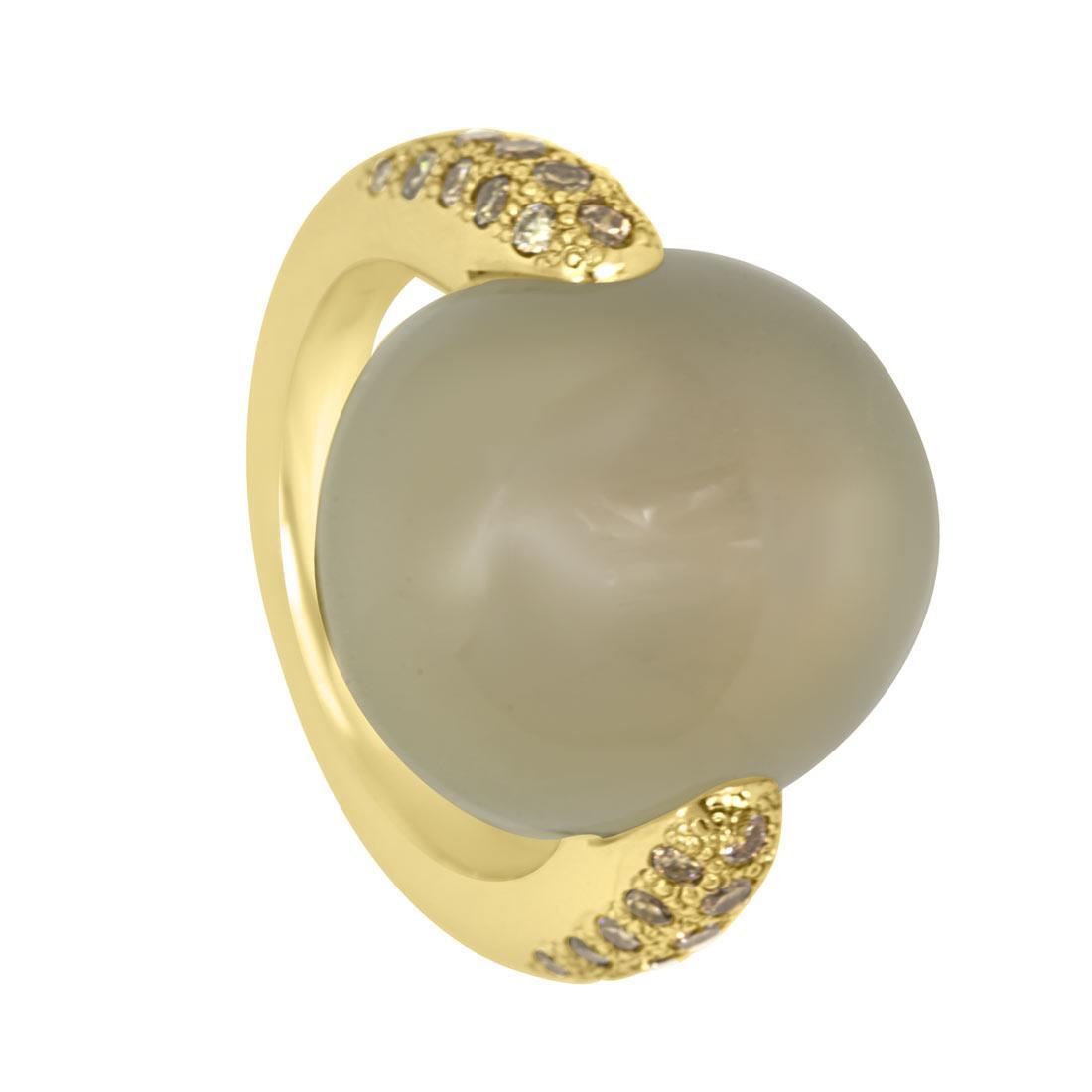 Anello in oro giallo con diamanti brown ct 0.66 e pietra di luna, misura 10 - POMELLATO