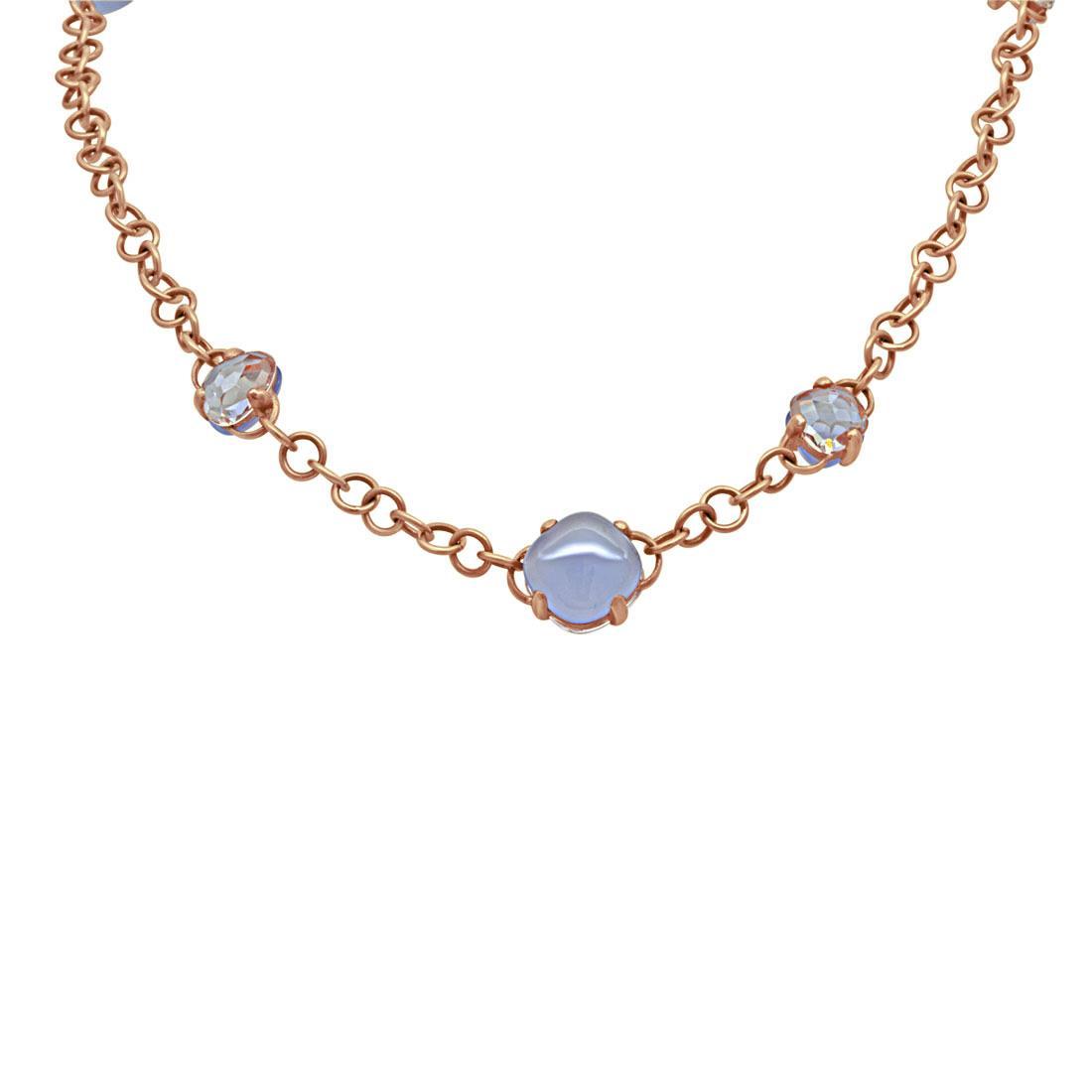 Collana design in oro rosa e calcedonio - POMELLATO