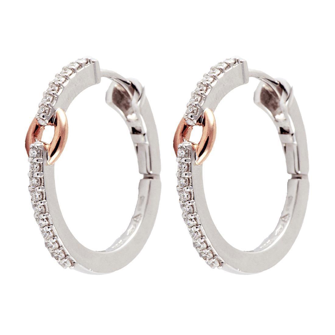 Orecchini in oro bianco e rosa con diamanti - DAMIANI