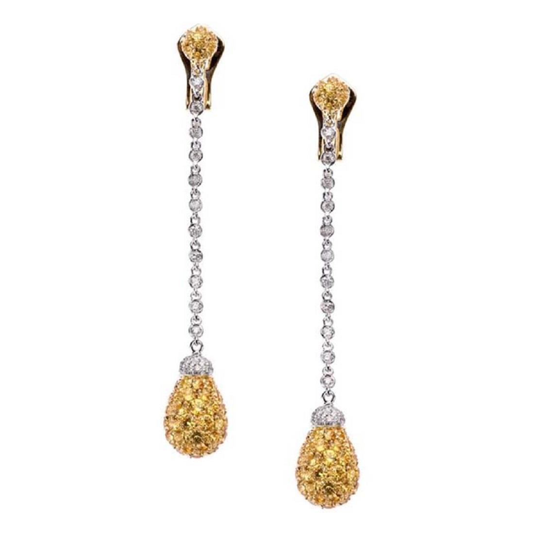 Orecchini pendenti con diamanti ezaffiri gialli - CHANTECLER
