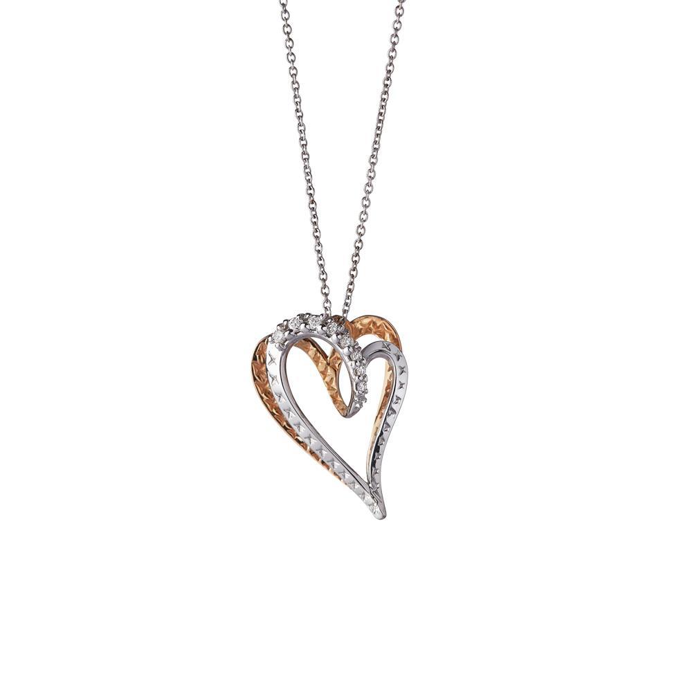 Collana con pendente cuore in oro bianco e rosa - ALFIERI & ST. JOHN