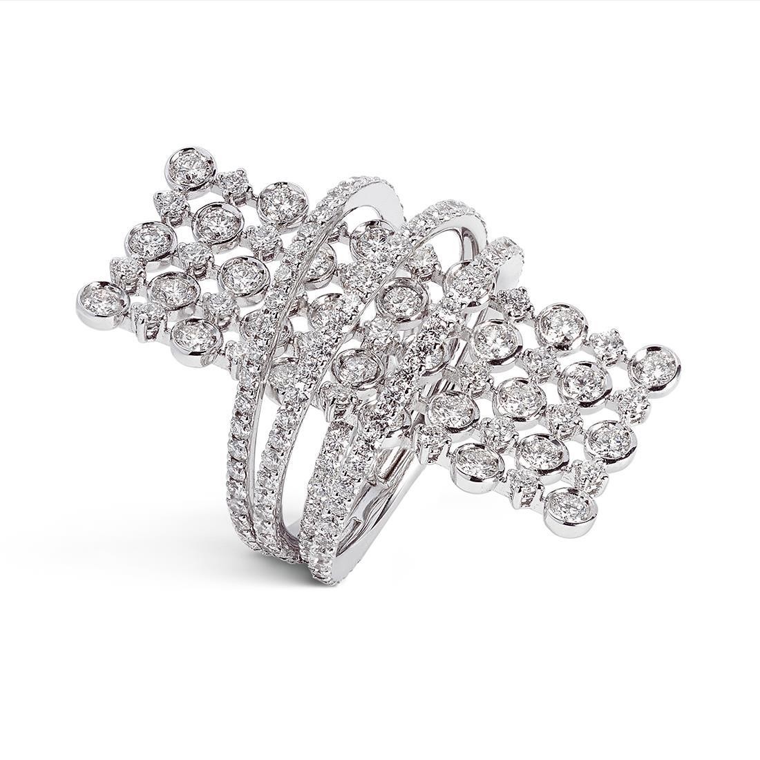 Anello in oro bianco con pavé di diamanti - ALFIERI & ST. JOHN