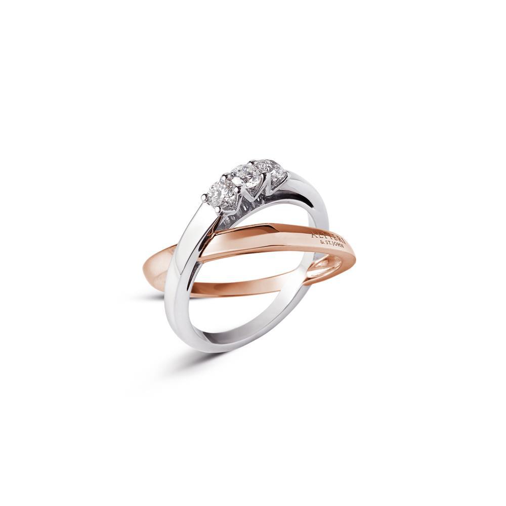 Anello fasce incrociate con diamanti - ALFIERI & ST. JOHN