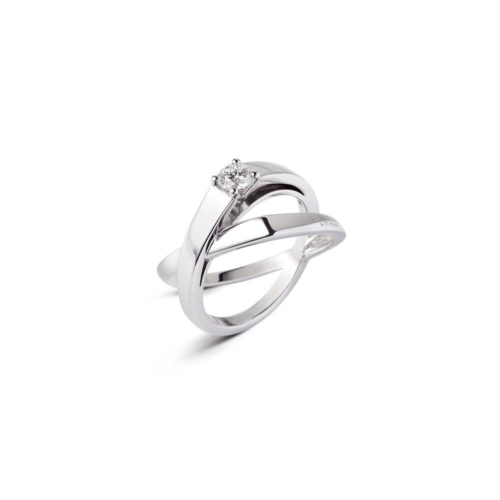 Anello fasce incrociate con diamante - ALFIERI & ST. JOHN
