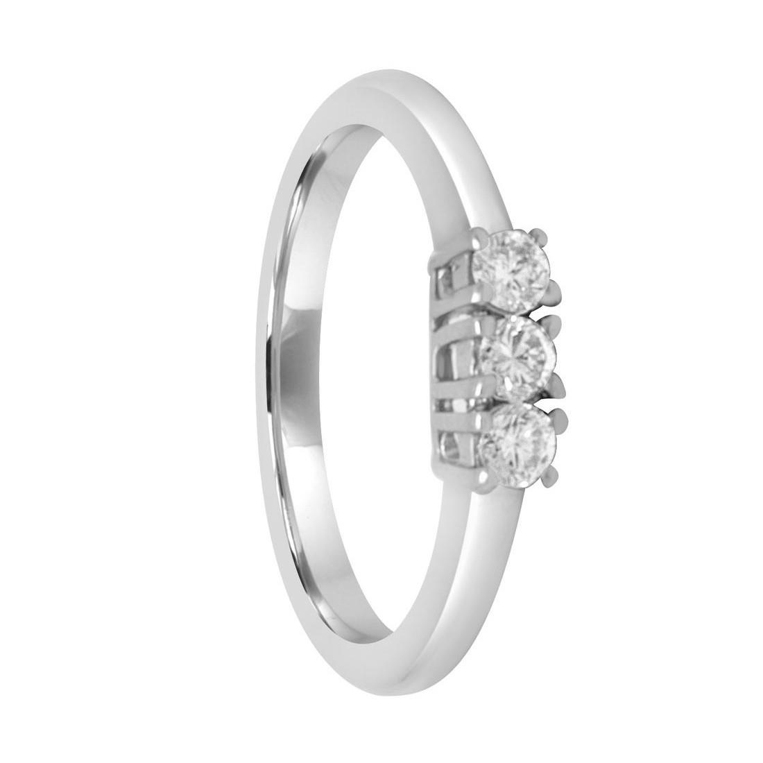 Anello Oro& Co in oro bianco con diamanti trilogy ct 0,24 - ORO&CO