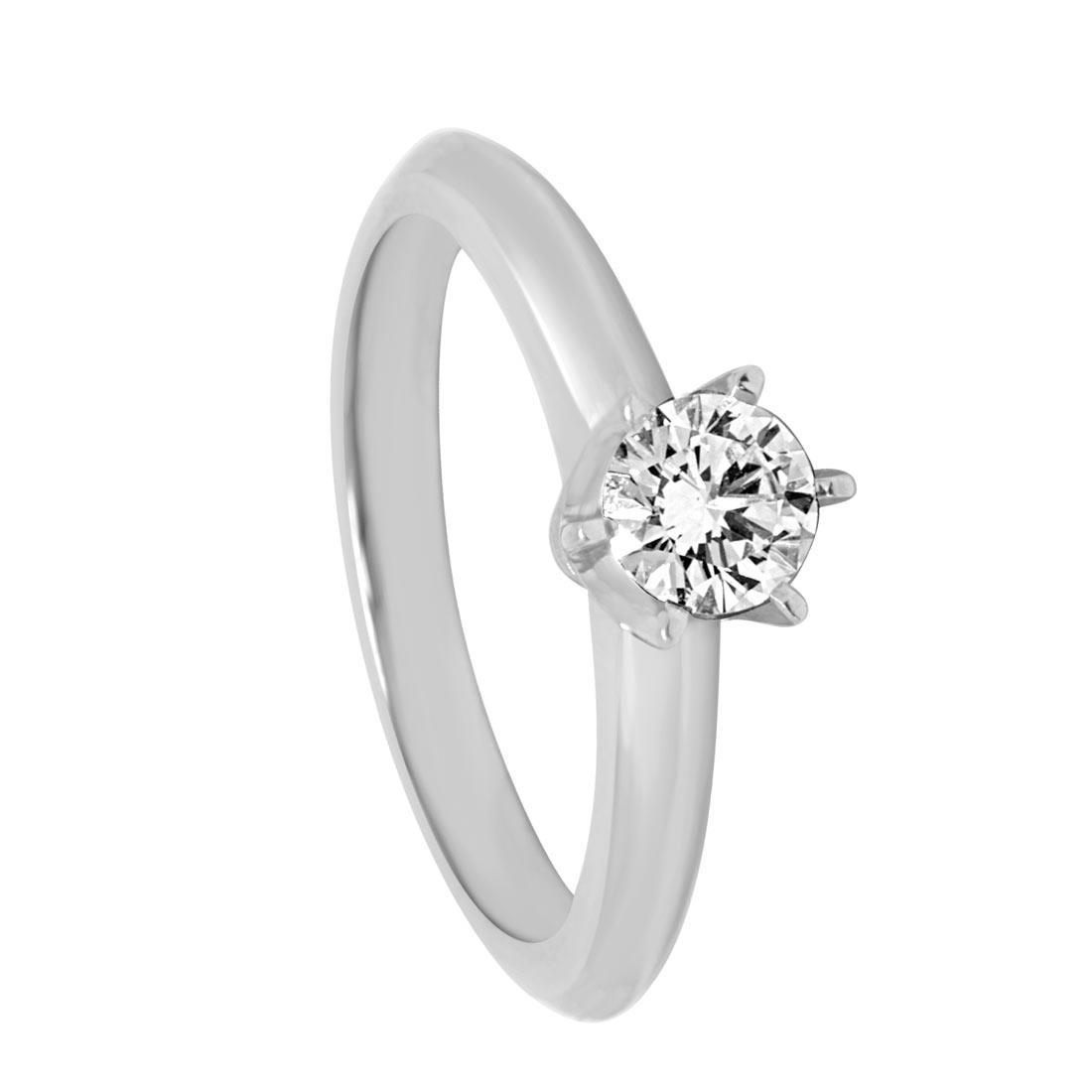 Anello solitario in oro bianco e diamante ct 0.42  misura 13 - ORO&CO