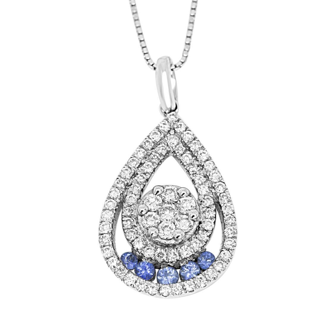 Collana in oro bianco pendente con diamanti e pietre azzurre - ORO&CO
