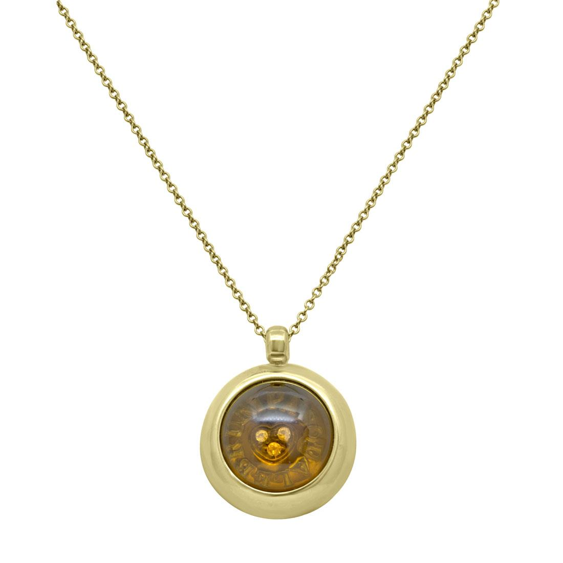 Collana in oro giallo con diamanti, rubino e pietra semipreziosa - PASQUALE BRUNI