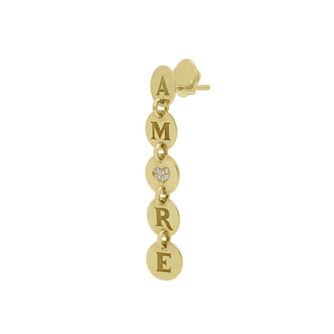 Orecchino Pasquale Bruni Amore in oro giallo con diamanti  - PASQUALE BRUNI