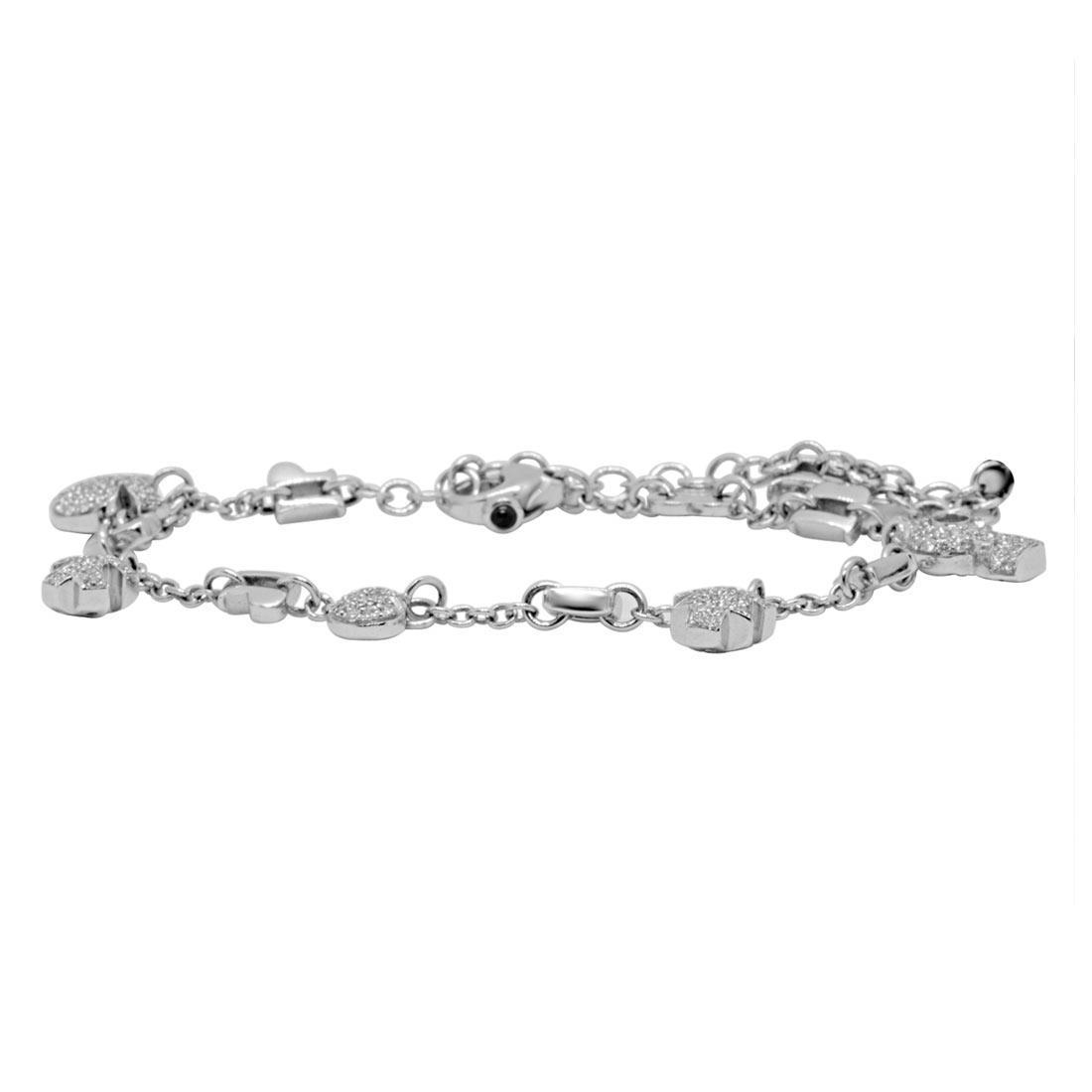 Bracciale Pasquale Bruni in oro bianco con charms e diamanti - PASQUALE BRUNI