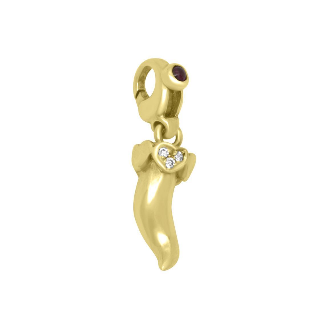 Ciondolo in oro giallo e diamanti ct 0,02 con rubino ct 0,06 - PASQUALE BRUNI