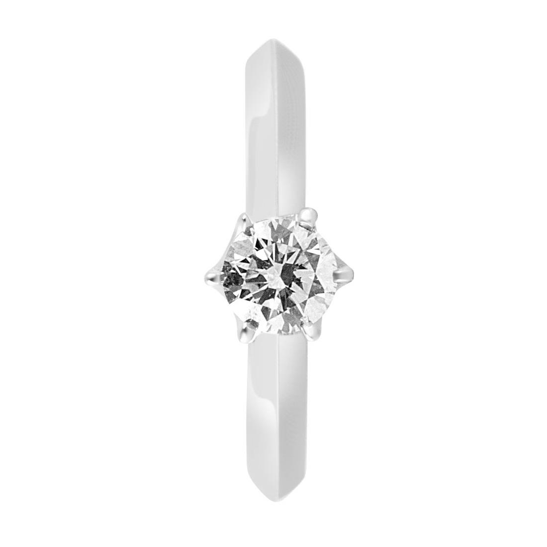 Anello solitario in oro bianco con diamante 0.51 ct mis 13 - ORO&CO