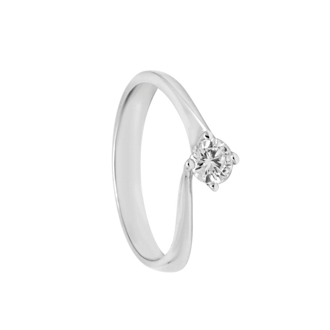 Anello solitario in oro bianco con diamanti mis 15 - ORO&CO
