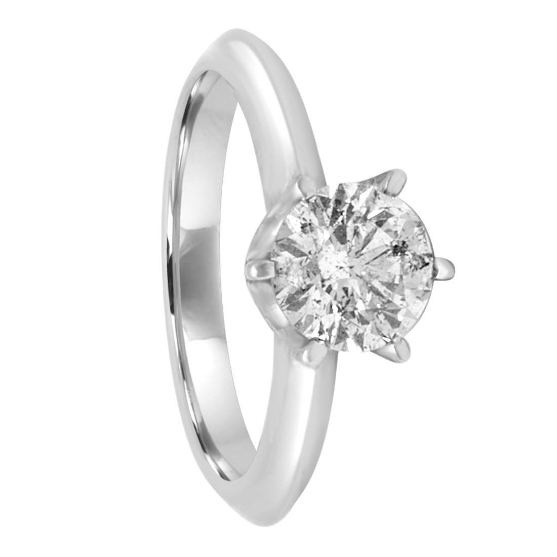 Anello solitario in oro bianco con diamante ct 1,24 mis 13 - ORO&CO