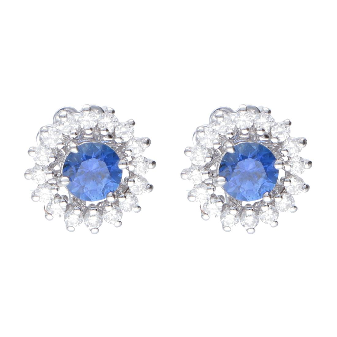 Orecchini in oro bianco con diamanti ct 0.70 e zaffiri ct 0.40 - ALFIERI & ST. JOHN
