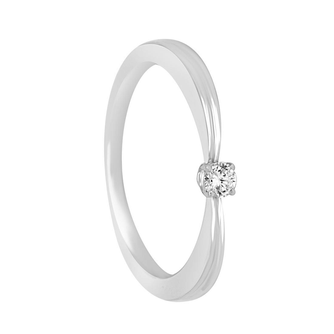 Anello solitario in oro bianco con diamante ct 0.08 misura 15 - ALFIERI ST JOHN