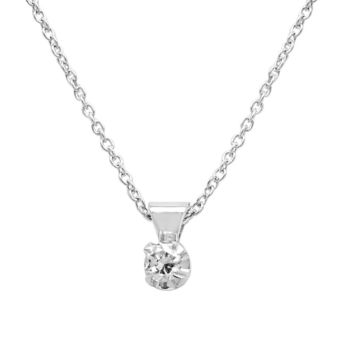 Collier punto luce in oro bianco con diamante - ALFIERI & ST. JOHN