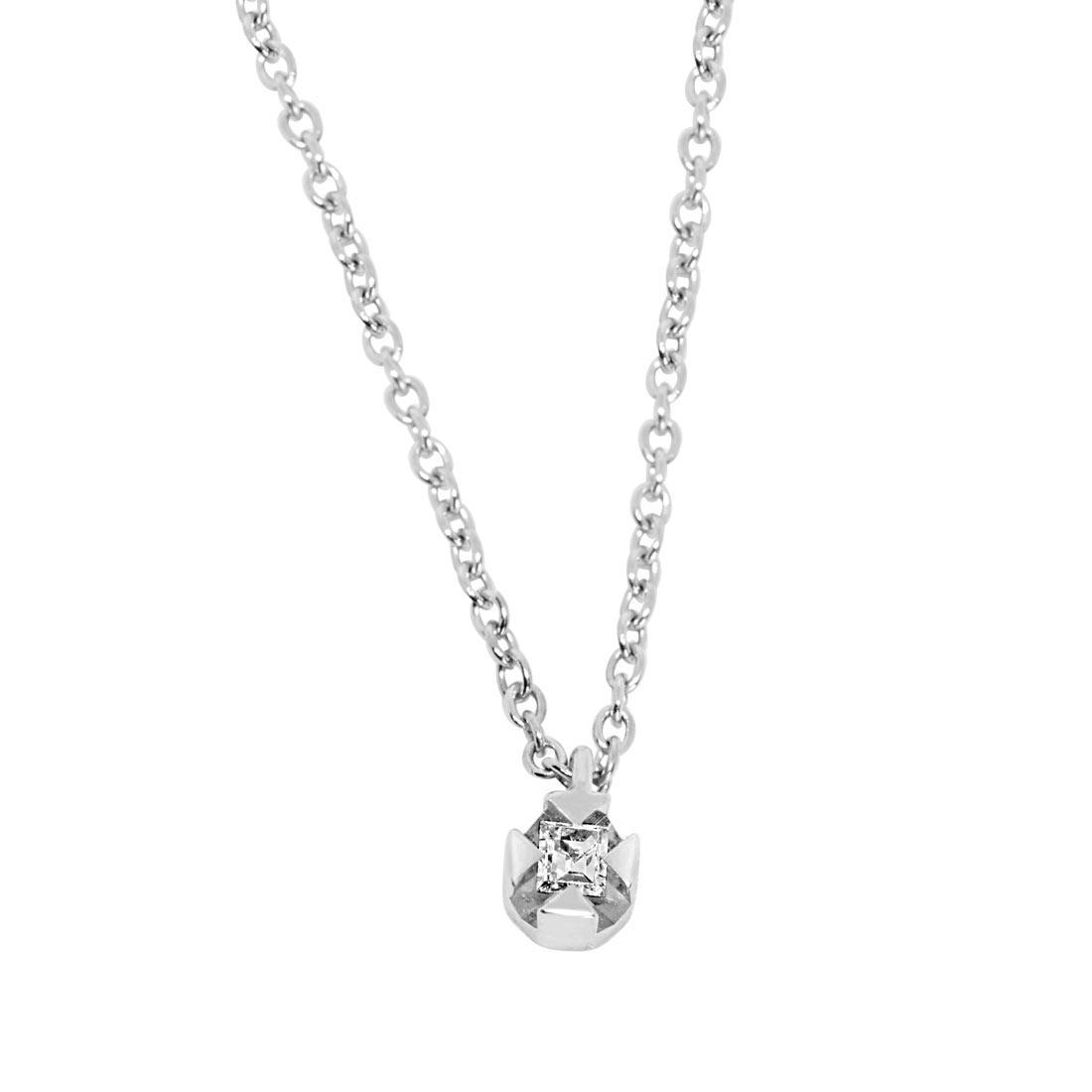 Collier punto luce in oro bianco e diamante ct 0.03 - ORO&CO