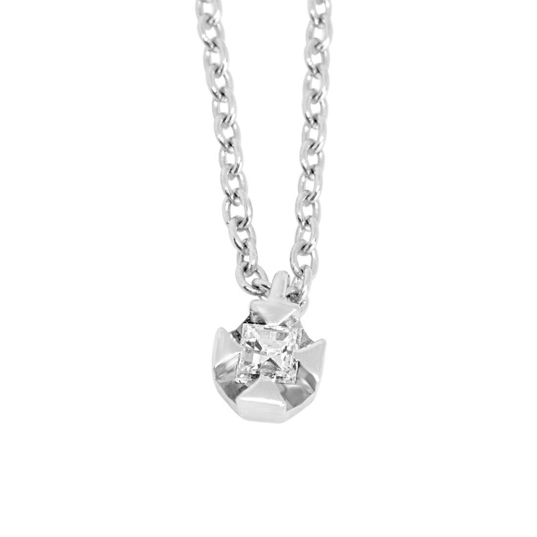 Collier punto luce in oro bianco con diamante ct 0.04  lunghezza 42 cm - ORO&CO