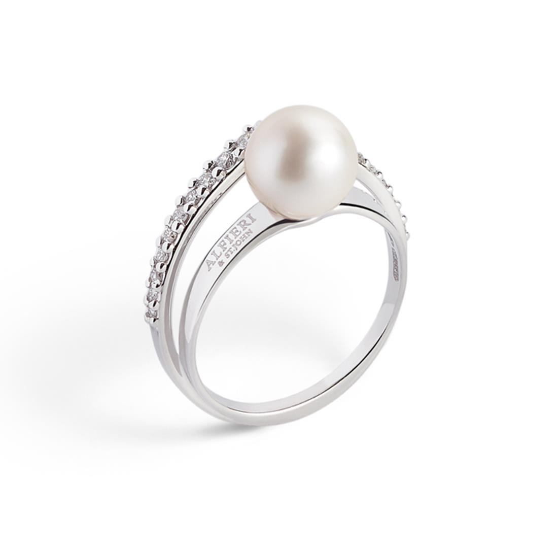 Anello con perla akoya e diamanti - ALFIERI & ST. JOHN