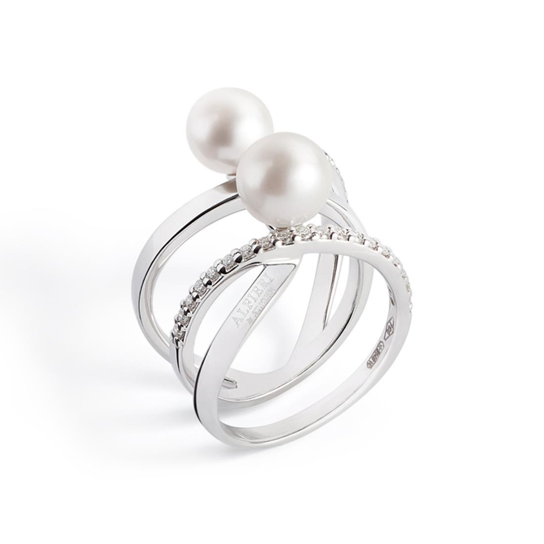 Anello con perle Akoya e diamanti - ALFIERI & ST. JOHN