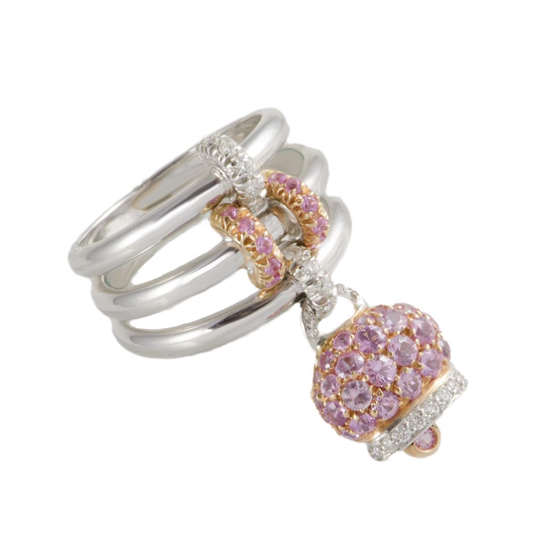 Anello Chantecler Campanelle in oro bianco con diamanti e zaffiri rosa  - CHANTECLER