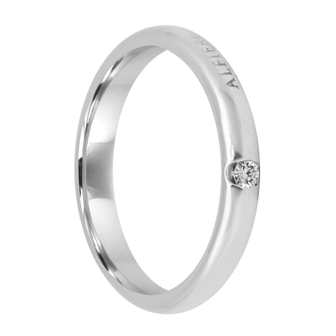 Anello in oro bianco con diamante - ALFIERI & ST. JOHN
