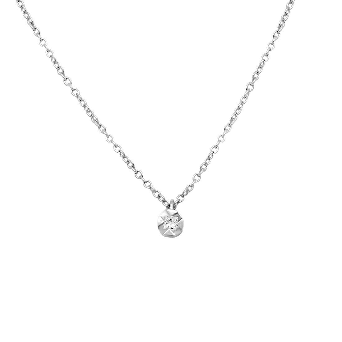 Collier Oro&Co in oro bianco punto luce  con diamante taglio princess ct 0,05 - ORO&CO