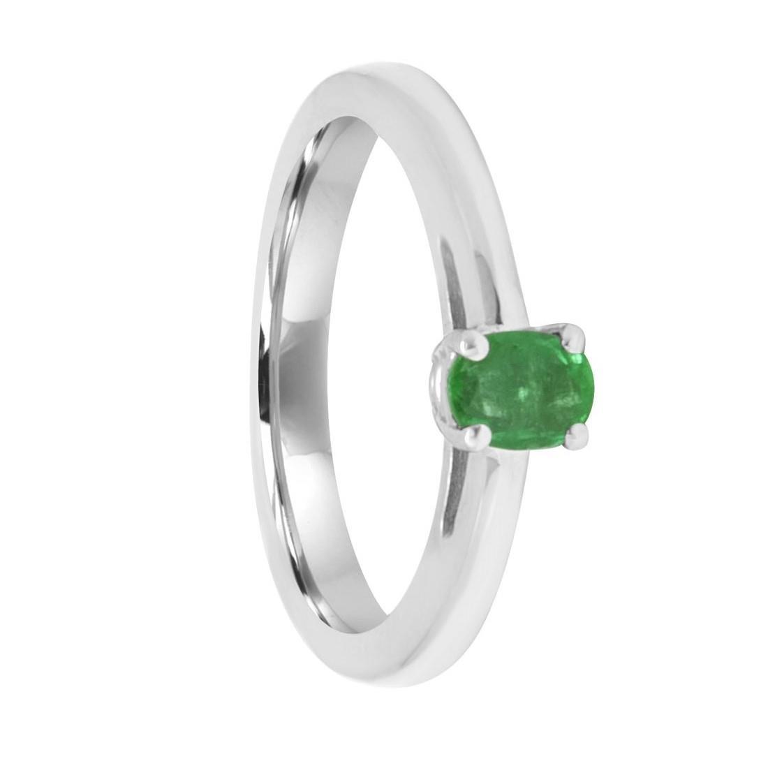 Anello Oro& Co in oro bianco con smeraldo ct 0,34 misura 12 - ORO&CO