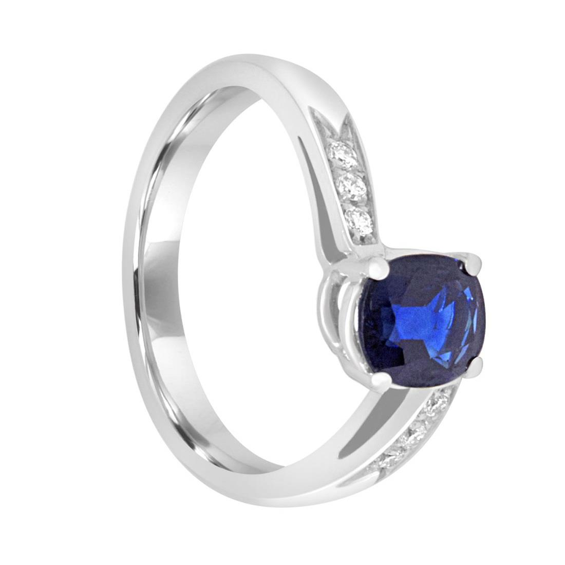 Anello in oro bianco con diamanti e zaffiro - ORO&CO