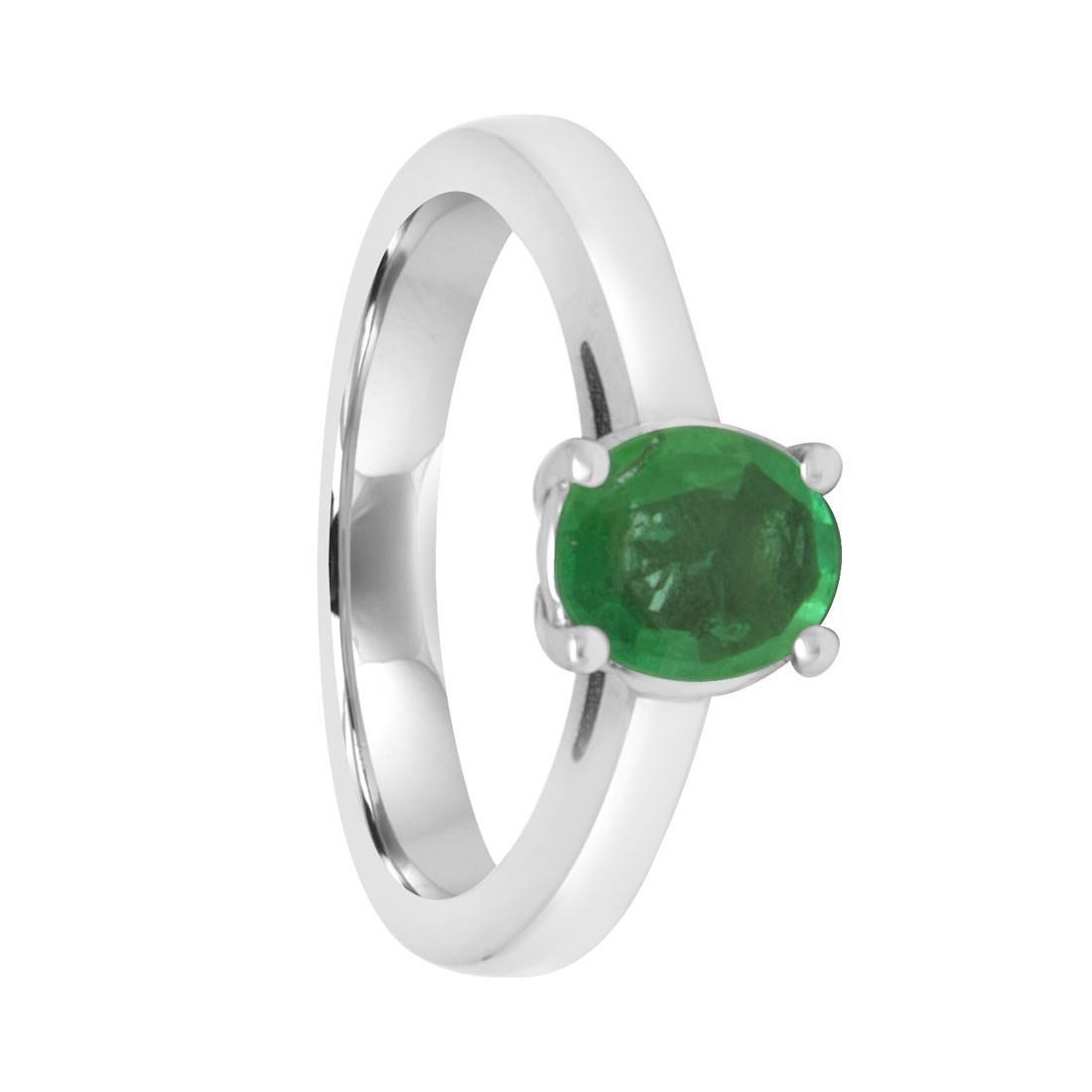 Anello Oro& Co in oro bianco con smeraldo ct 0,62  - ORO&CO